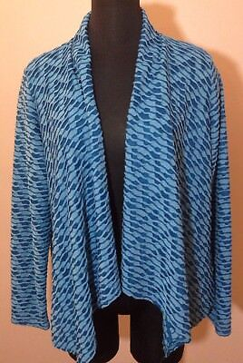 NY Collection XL Womens Sweater Cardigan Blues Swing Coverup Waterfall  (S5)