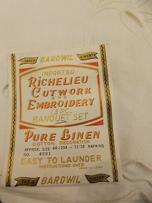 Vtg New Richelieu Cutwork Embroidered Linen 64x104 Tablecloth & 12 Napkins Set