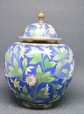 Antique Chinese Export Blue Cloisonne Lidded Jar ~ 7 Inches tall ~🐘