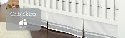 """Classic Pleated Crib Bed Skirt White with Grey Stripes Neutral Design 16"""" Drop"""