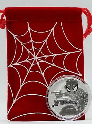 2017 Spider-Man 1 oz Silver Coin Tuvalu MARVEL 9999 Ag w/ Pouch