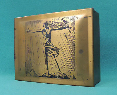 "1928 RARE Rockwell Kent ""Sally"" Art Deco Brass Wood Cigar Box EPCO A G Spaulding"