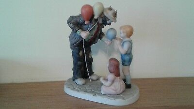 Emmitt Kelly Clown Figurine, Children and Balloons by Flambro