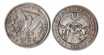Fantasy Issue Novelty Coin 1881 CC Morgan Dollar W/ Pirate Skull & MAP