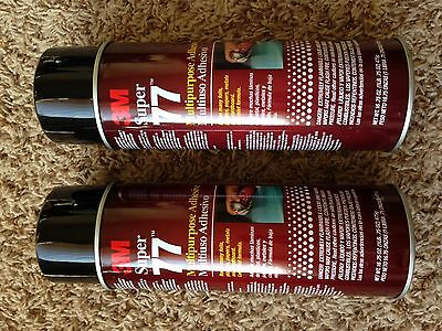 Two Cans of 3M Super 77 Multipurpose Adhesive Spray 16.75 oz each can. Two cans.