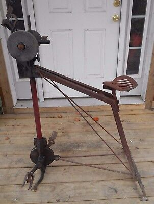Vintage Riding sharpening grinding stone Pedal Power !! Wheel