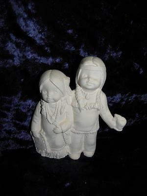 Ceramic Bisque Ready to Paint Indian Small Children  arm around each other