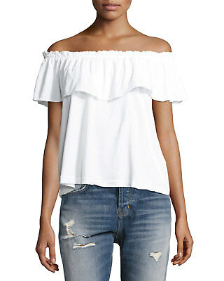 fa529388882ac9 NEW Current/Elliott The Ruffle Off The Shoulder White Top Size 2 (O1-