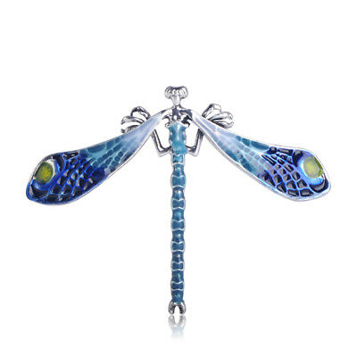 Vintage Antique Silver Plated Blue Enamel Dragonfly Brooches For Women Brooch