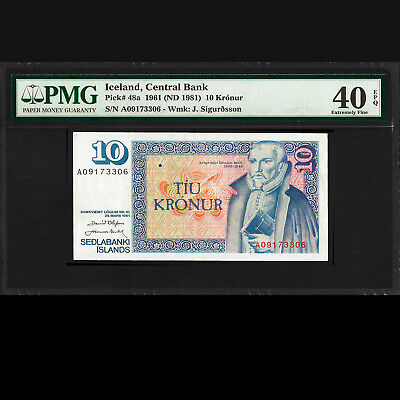 Iceland Central Bank 10 Kronur 1961 (ND 1981) PMG 40 Extremely Fine EPQ P-48a