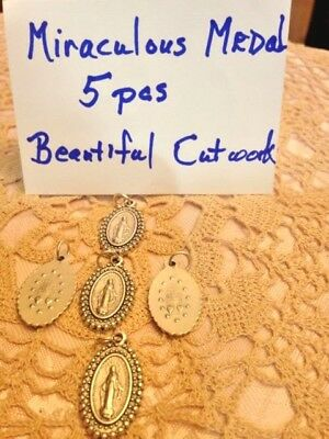 "NEW ""MIRACULOUS MEDAL 1"" LOT  of 5 pcs, BEAUTIFUL CUTWORK, STUNNING  Imp. ITALY"