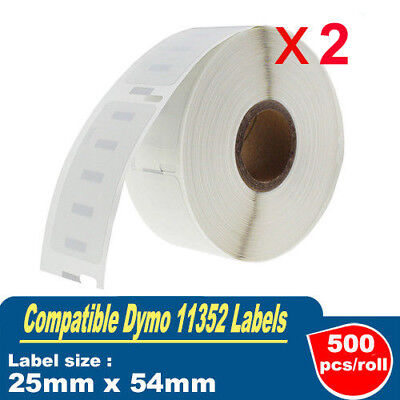 2x Dymo 11352 Compatible Label Roll 25mm x54mm Labelwriter 4XL SE450 500cps/roll