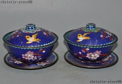 Old Chinese Dynasty Bronze Cloisonne Enamel Flower Bird Tea Cup Bowl Teacup Pair