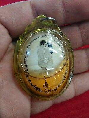 Inn Koo Couple Locket Phor Pu Noi Tun Charm Luck Thai Amulet Love Charming