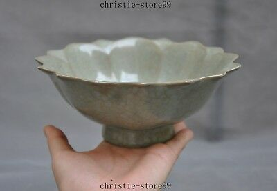 Old Chinese dynasty Longquan kiln porcelain green glaze lotus shape Tea Cup Bowl
