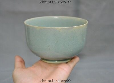 "5""Old Chinese Longquan kiln porcelain green glaze dynasty palace Tea Cup Bowl"