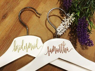 DIY personalised coat hanger decal with wedding title or name
