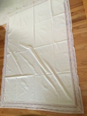 "Vintage Irish Linen Tablecloth Cream with Lace Trim 52"" x 68"""