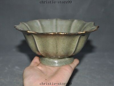 Old Chinese Dynasty Palace Longquan Kiln porcelain Gilt Lotus Shape Tea Cup Bowl