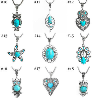 Fashion Jewelry Antique Silver Turquoise Pendant Rhinestone Necklace Gift
