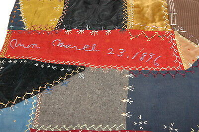 Antique Crazy Quilt 1896 Large Section Embroidered Detailed Stitching EP207