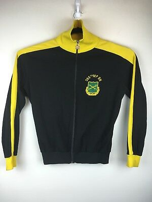 Vintage 70s 80s Puma Track Jacket Black/Yellow Hign Neck Made In Germany L L12