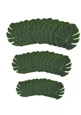 Juvale Tropical Palm Leaf - 36-Pack Artificial Monstera Leaves, Summer Luau Part