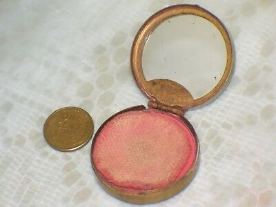 Art Deco TINY ROUGE COMPACT FIANCEE by Woodworth Small round BRASS 1920s Vintage
