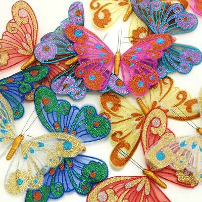 12 Large Glitter  Butterflies with magnets - 21cm Wingspan