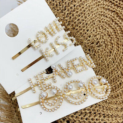 Women Words Smiling Face Pearl Hair Clip Hairpin Barrette Bobby Pin Accessories