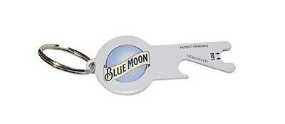 Blue Moon Beer White Metal Bottle & Can Opener Key Chain New
