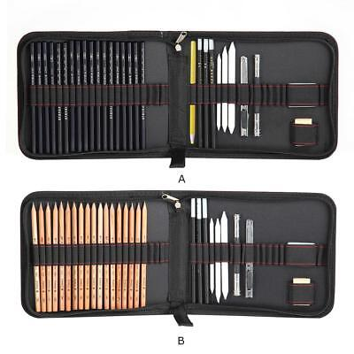 29 Piece Graphite Pencil Sketching Charcoal Drawing Sticks Artist With Bag Set