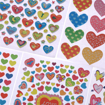 10Sheets Heart Shape Stickers Label For School Children Teacher Reward DIY