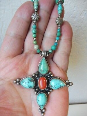 Very Nice,Old Necklace with Pendant__925 Silver__with Turquoise and Coral