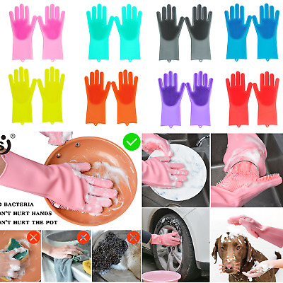A Pair Magic Silicone Scrubber Rubber Cleaning Gloves Dusting Dish Washing Pet
