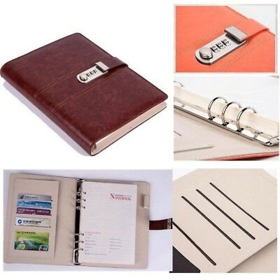 RETRO JOURNAL WITH Combination Code Lock Lined Paper Leather Cover A5 Diary  Book