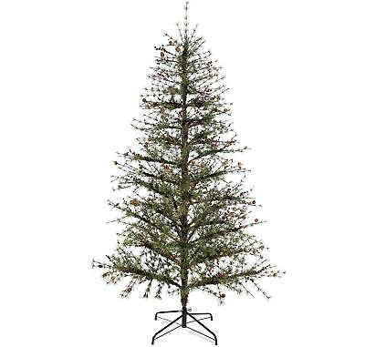 WeRChristmas 7ft Plain Green Tree With Needle Pine With Red Berries and Cones