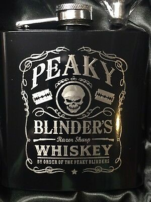 PEAKY BLINDERS Whiskey logo HIP FLASK black 6oz stainless steel shelby bros NEW