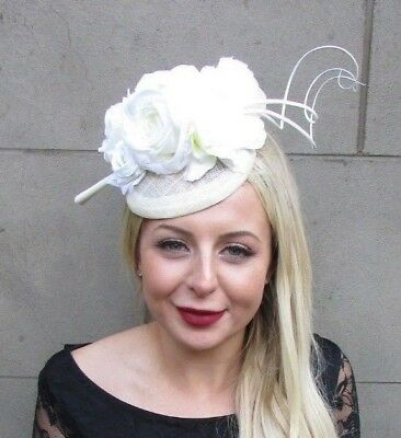 Ivory Cream Sinamay Rose Feather Flower Fascinator Hat Hair Clip Races 6642