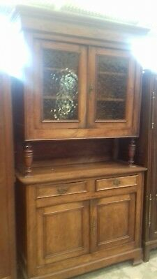 Beautiful 19Thc Glass Door French Antique 3 Piece  Buffet Sideboard With  Key