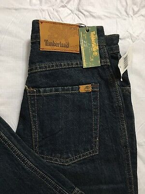 Timberland Relaxed Fit Blue Jeans Boys Size 12 Reg Stained Denim Wash NWT