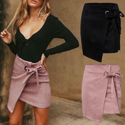 Fashion Women Party High Waist Skirt Mini Dress Hip Suede Pencil Club Knotted US