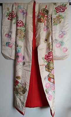 BEAUTIFUL VINTAGE old new Japanese Minit Kimono desplay fablic cloths embroidery