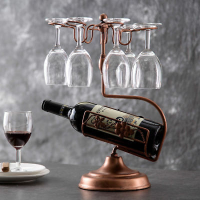 Tabletop Wine Bottle Rack Bamboo Wine Glass Holder For 6 Pcs