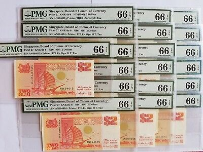 $2 <1990> Singapore Board of Comm.of Currency PMG 66