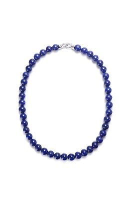 Exotic Lapis Lazuli gemstone necklace in Sterling 925 silver. natural untreated