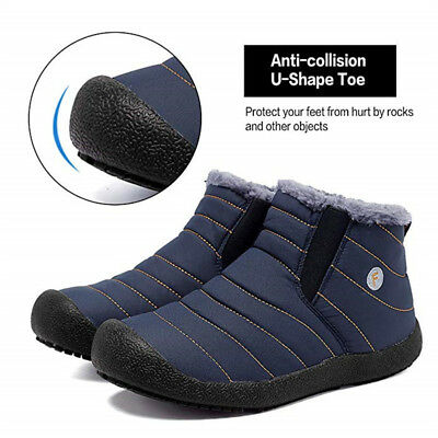 Winter Mens Fur Lined Snow Boots Warm Thicken Slip on Hiking Flat Shoes Outdoor