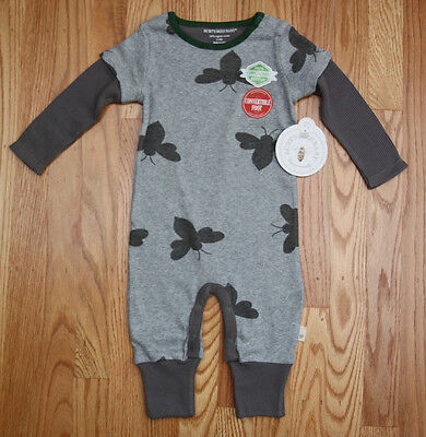 Burt's Bees Baby Boy Thermal Mock Layer Coverall ~ Gray & Green ~ Organic ~ 0-3M
