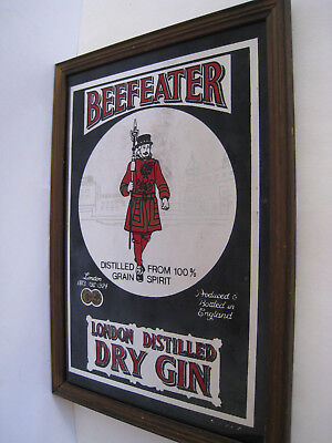 BEEFEATER LONDON DISTILLED DRY GIN MIRROR FRAMED AD BAR PUB VINTAGE only 1 on EB