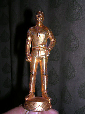 "Vintage Heavy Cast Brass Gold Trophy  Referee/ coach 5 1/8"" Tall"